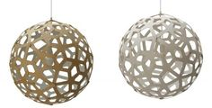 Coral Pendant Light by David Trubridge. Based on a geometric polyhedron of Bamboo plywood with nylon clips, vanillawood.com