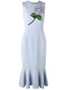 Dolce & Gabbana платье миди с цветочной вышивкой