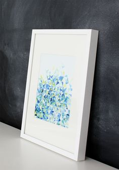 Handmade Watercolor Abstract Triangles in Blue and Green- 8x10 Wall Art Watercolor Print. $15,00, via Etsy.