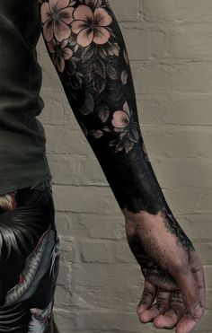 These Striking Solid Black Tattoos Will Make You Want To Go All In - awesome blackout tattoo ideas © tattoo artist Max Rathbone ❤🌺❤🌺❤🌺❤ - Forearm Cover Up Tattoos, Black Tattoo Cover Up, Solid Black Tattoo, Black Ink Tattoos, Head Tattoos, Cover Tattoo, Body Art Tattoos, Feminine Tattoo Sleeves, Feminine Tattoos