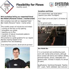 NEW monthly Event by RMA Systema. Our good friend Ben Walsh giving his guidance for `Flexibility for Flow`