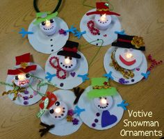 Light up snowmen. Cut 2 size circles from card stock. Cut out centers so that on/off switch can be used when glued together. Then decorate with stickers, foam, buttons, felt, ribbon etc.