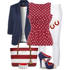 Blue, Red & White by yasminasdream on Polyvore