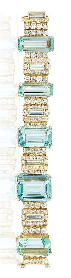 Gold, Aquamarine and Diamond Bracelet   Centering 5 emerald-cut aquamarines approximately 86.50 cts., spaced by 4 rectangular-cut aquamarines and 128 old European-cut, round and single-cut diamonds approximately 10.00 cts., approximately 42.3 dwts. Length 6 5/8 inches.