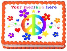 "FLOWERS+PEACE+SIGN+Edible+image+cake+Topper+1/4+sheet+(10.5""+x+8"")"