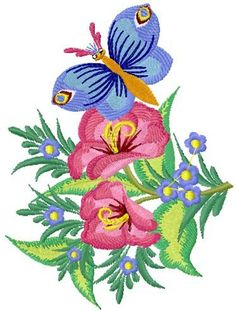 Butterfly and flowers free embroidery design - Flowers free machine embroidery designs - Machine embroidery community
