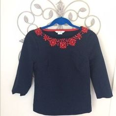 I just added this to my closet on Poshmark: Boden Navy and Red Knit Top. Price: $24 Size: 6