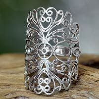 Balinese Sterling silver cocktail ring, 'Lace Bandeau' by Sri Luce