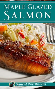 This maple glazed salmon recipe is so simple to make and it's perfect for one of those busy night when you don't have a lot of time to get dinner on the table. Deliciously sweet maple syrup combine wonderfully with fresh garlic, ground ginger and a Salmon Dishes, Fish Dishes, Seafood Dishes, Seafood Recipes, Chicken Recipes, Dinner Recipes, Cooking Recipes, Healthy Recipes, Fish Recipes