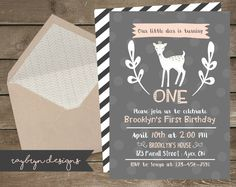 Our little deer is turning ONE! | Baby Girl's Cute Deer Theme Invite | Grey and Pink | Age can be customized | Printable file. by RayBrynDesigns on Etsy