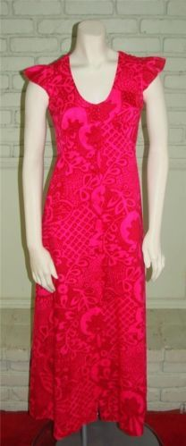 Vintage 70s Fumis Pink on Pink Hawaiian Dress S 34 Bust