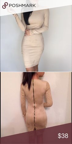 ⭐️sueded  mini⭐️ ⭐️The Nude Suede Mini ⭐️ Gorgeous Dress! Too beautiful to be sitting in my closet! Purchased from another Posher @itselaine  but have not had a chance to wear it. Materials✔️ 90% polyester and 10% Spandex. ➡️Fits Perfectly!⬅️ NWOT EkAttire Dresses Mini