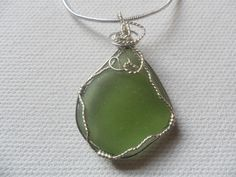 "Olive green sea glass necklace - Sterling silver 18"" chain and wire wrapping by ShePaintsSeaglass on Etsy"