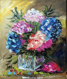 Hortenziák. olaj, vászon, festőkés, 30x25