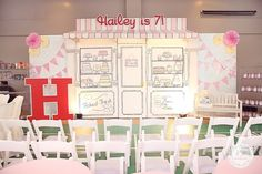 Hailey's Dainty Little Bakeshop Themed Party – Stage Setup
