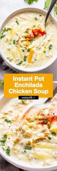 Instant Pot Enchilada Chicken Soup - - This Instant Chicken enchilada soup recipe is a quick weeknight dinner idea. Best Soup Recipes, Chicken Soup Recipes, Chicken Enchilada Soup, Chicken Enchiladas, Low Carb Dinner Recipes, Cooking Recipes, Keto Recipes, Atkins Recipes, Keto Foods