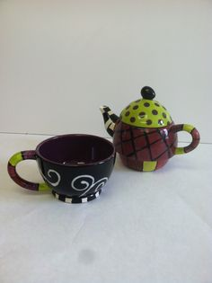 Sweet Pea collection: Tea pot and cup all in one! what a great gift idea  www.createdbyus.org