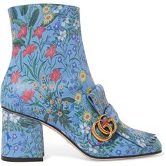 Gucci Gucci - Marmont Fringed Floral-print Leather Ankle Boots - Blue (€1.050) ❤ liked on Polyvore featuring shoes, boots, ankle booties, leather ankle boots, short leather boots, leather ankle booties, fringe booties and block heel booties