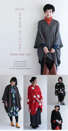 I love ponchos! Kimono Fashion, Diy Fashion, Fashion Outfits, Poncho Mantel, Japanese Fashion Designers, Modern Kimono, Japanese Outfits, Japanese Kimono, Japan Fashion