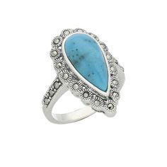 Turquoise Ring Lace Edged Marcasite Silver | C W Sellors Fine Jewellery and Luxury Watches