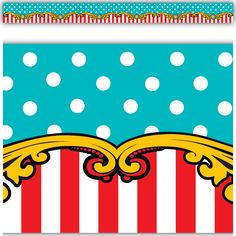 Use the Carnival Border Trim to liven up your classroom! Create fresh looks for bulletin boards, windows, walls, and class projects. Mix and match with coordinating Carnival products (stickers, notepads, awards, etc.) for a classic classroom theme full of polka dots, stripes, and more circus fun!