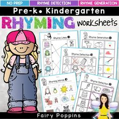 Rhyming Worksheets (Phonological Awareness) by Fairy Poppins Senses Activities, Measurement Activities, Rhyming Activities, Literacy Games, Kindergarten Literacy, Motor Activities, Activities For Kids, Literacy Centers, Senses Preschool