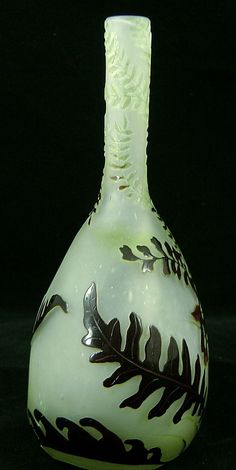 Galle French Cameo Banjo Fern Vase, signed from nhantiquecoop on Ruby Lane