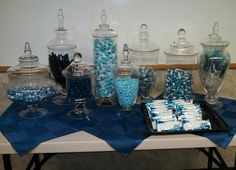 Blue themed candy bar! Rock & Roll baby shower!