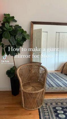 Diy Home Crafts, Diy Home Decor, Living Room Decor, Bedroom Decor, Diy Mirror, Giant Mirror, Diy Home Improvement, Home Hacks, Home Decor Inspiration