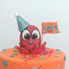 Party octopus cake topper - sweetthingsbywendy.ca Octopus Cake, Scooby Doo, Cake Toppers, Cupcake Cakes, Sweet, Party, Character, Candy, Scoubidou