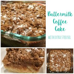 Easy recipe for Buttermilk Coffee Cake with Extra Streusel. Ingredients are pantry staples. Moist, buttery flavored with cinnamon and vanilla.