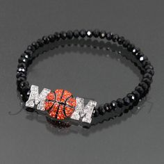 "BASKETBALL MOM"" Rhinestone Stretch Bracelet on Etsy, $12.00"