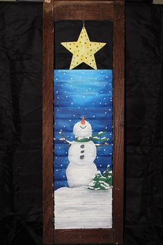 Snowman Shutter Painting by NaeLynne on Etsy, $40.00