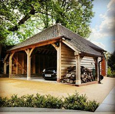 Outdoor Storage & Style with this custom designed dual log store garage. oak-designs.co.uk #garages #oakframe #mini #logstore