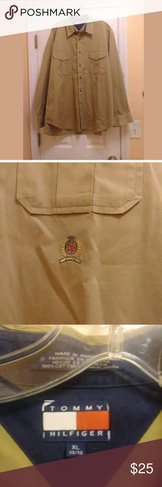Tommy Hilfiger Men Shirt Size XL Tommy Hilfiger VINTAGE Mens Button Down Size XL Camel Brown Tan Long Sleeve  Missing a pocket button but extra button is included on shirt  TAN Tommy Hilfiger Shirts Casual Button Down Shirts