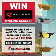 Enter to win 1 of 4 Ryders Eyewear antiFOG premium cycling glasses in your choice of style in BikeRoar's contest!