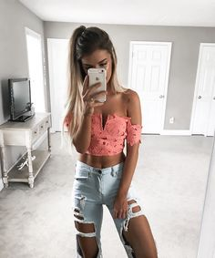Ripped Jeans + Crop Top