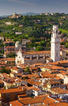 Verona - vista desde la parte superior de la Torre de Lamberti, ITALIA.