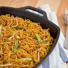Pan-fried Noodles With Soy Sauce With Egg Noodles, Scallions, Beansprouts, Dark Soy Sauce, Regular Soy Sauce, Oil