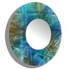 "Title: Mirror 103  Color: Blue, Brown and Teal Jewel Tone Fusion Overall Dimensions: 23"" Diameter #blueandgold #teal #abstract #art #artwork #contemporarydecor #bluemirrors #circleart  #modernmirror #mirrorart #circularart #cobalt #modern #mirror #roundmirror #handmade #circularwalldecor #bluerart #bathroomdecor #circlemirror #roundart #functionaldecor"
