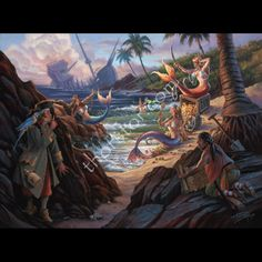 In Tom Thordarson's fantasy painting Finders Peepers we witness the lore and enchantment of four mermaids as they have quite a celebration on the beach! We also can see two spying pirates.