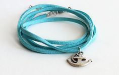 Wrap bracelet necklace blue turquoise suede by asteriascollection, $8.50