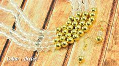 Como hacer un collar cristal dorado Kit 23322