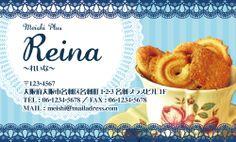 不思議の国のアリス名刺(ブルー、お菓子、カップ、レース)