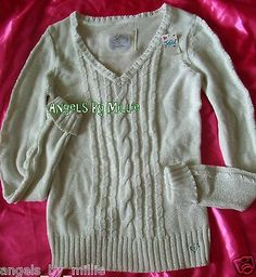 #VSPINK #UNDERARMOUR & MORE @ #auction #ebay #freeshipping #worldwide  Justice 16 Girls Ivory White Silver Glitter V Neck Cable Knit Sweater | eBay