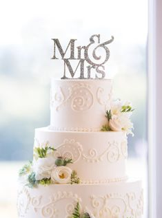 Glitter Wedding Cake Topper - Mr and Mrs Cake Topper by Chicago Factory