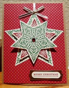 handmade Christmas card: Star Bright by lkarr309  ... stamped, die cut and layered star ... traditional colors ... great card ...