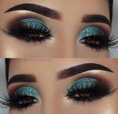 Smokey eye ♡ ♡ eye makeup tips, teal eye makeup, teal eyeshadow, eye Teal Eye Makeup, Teal Eyeshadow, Dramatic Eye Makeup, Glitter Eye Makeup, Eye Makeup Tips, Makeup Blog, Eyeshadow Makeup, Makeup Ideas, Eyeshadow Ideas