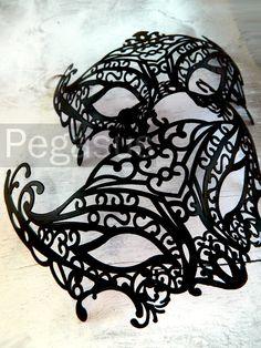 BLACK Mask (1 Mask) Matte Black Lace Painted Filigree Pattern Venetian Mask base - Masquerade ball costume or elven wedding. $6.00, via Etsy.