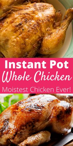 Easily make this rotisserie style whole chicken in your Instant Pot. Pressure cooking delivers a simple, delicious, and moist chicken that will be raved about at any meal! pot recipes easy chicken whole How to Make the BEST Instant Pot Whole Chicken! Instant Pot Whole Chicken Recipe, Best Instant Pot Recipe, Instant Pot Dinner Recipes, Whole Roasted Chicken, Stuffed Whole Chicken, Instant Pot Pressure Cooker, Pressure Cooker Recipes, Pressure Cook Whole Chicken, Whole Chicken Pressure Cooker